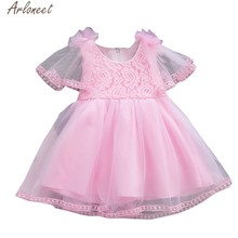 ARLONEET Toddler Baby Girls Dresses Solid Tulle Floral dress girl girls dress 1 to 2 years Party princess costume(China)