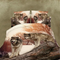 Wolves Dreamcatcher Bedding Set Native American Indian Wolf Duvet Cover Western Wild Animal Tribal 3D Bed Cover