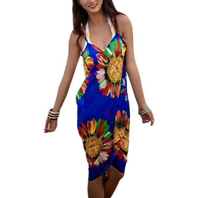 LAAMEI 2019 сексуальное богемное пляжный халат с бретелькой, туника, платье свободного кроя, летнее женское ретро платье с цветочным принтом, шифоновые платья