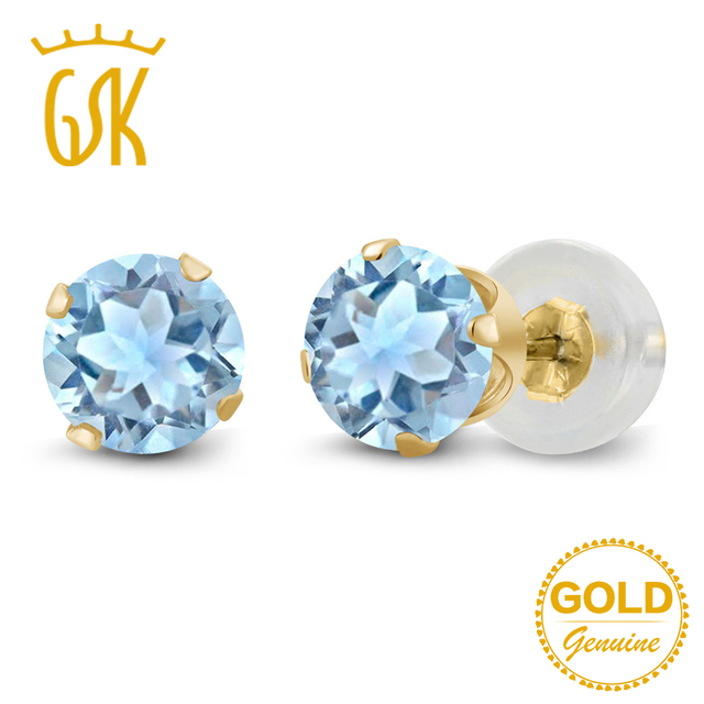 Topaz Earrings Gemstoneking 1 20 Ct Natural Sky Blue Stud Real 10k Yellow Gold Fine