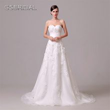 GSBRIDAL Two In One Lace Border Bridal Wedding Gown