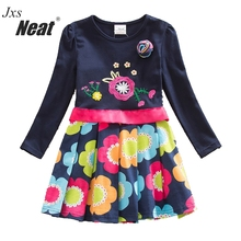 NEAT 2017 Autumn baby girl clothes kids dresses for girls long sleeved Dress 100% cotton Flower dress children clothing LH5868