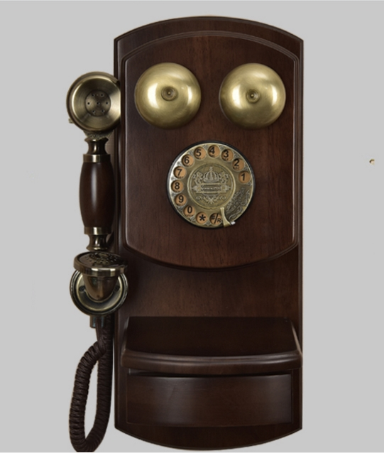 Fashion antique vintage telephone american style home telephone wall mounted old fashioned mechanical bell rotary dial