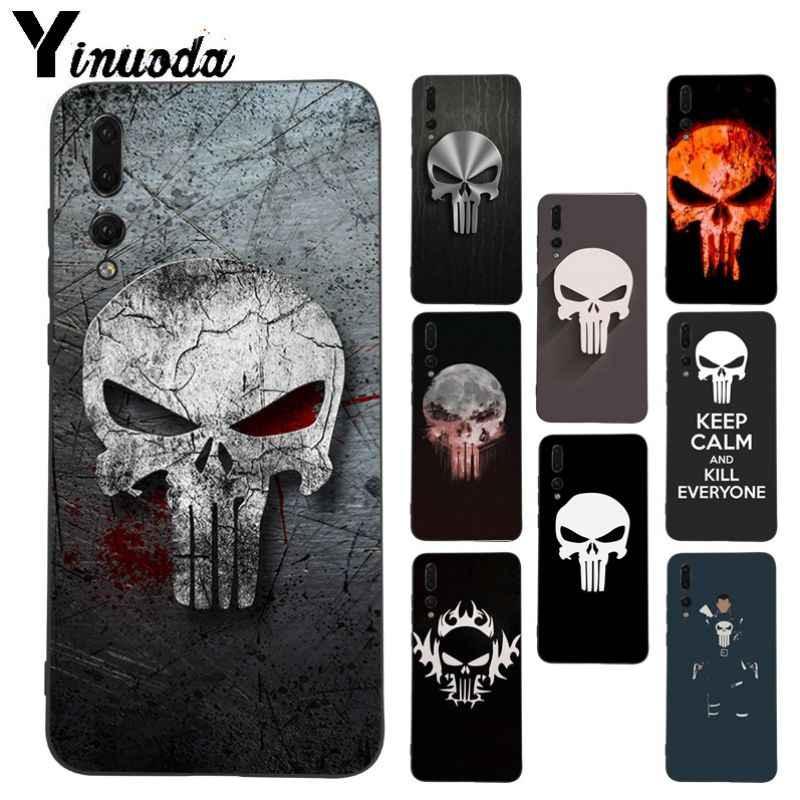 Yinuoda Punisher Mask skull อุปกรณ์เสริมสำหรับ Huawei honor 8x 7a P20Lite P10 Plus Mate10Lite Mate20 P20 Pro กรณี