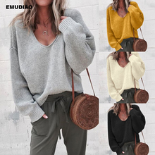 Casual Knitted Sweater Women Streetwear V Neck Long Sleeve Pullovers Loose Solid Coat 2019 Autumn Winter Fashion Women's Sweater
