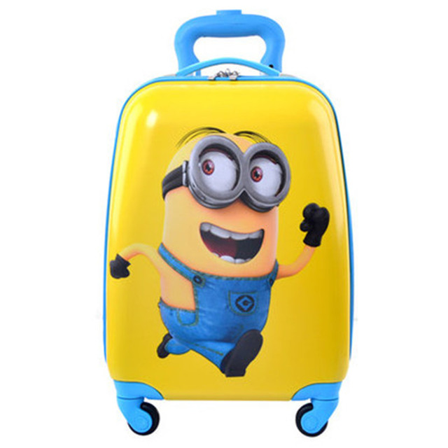 YISHIDUN Small yellow People Children suitcase valiz bag Boys Girls,Princess 18 trolley case, new style,Cartoon travel luggage