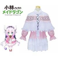 Kanna Kamui Cosplay Miss Kobayashi's Dragon Maid Costume Dress Maid Dragon Uniforms Lolita Pink And White Dress