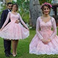 vestidos de 15 cortos Sweetheart Pink Long Sleeve Homecoming Dresses Knee-Length Lace Lovely Girls Graduation Gowns Flower S1060