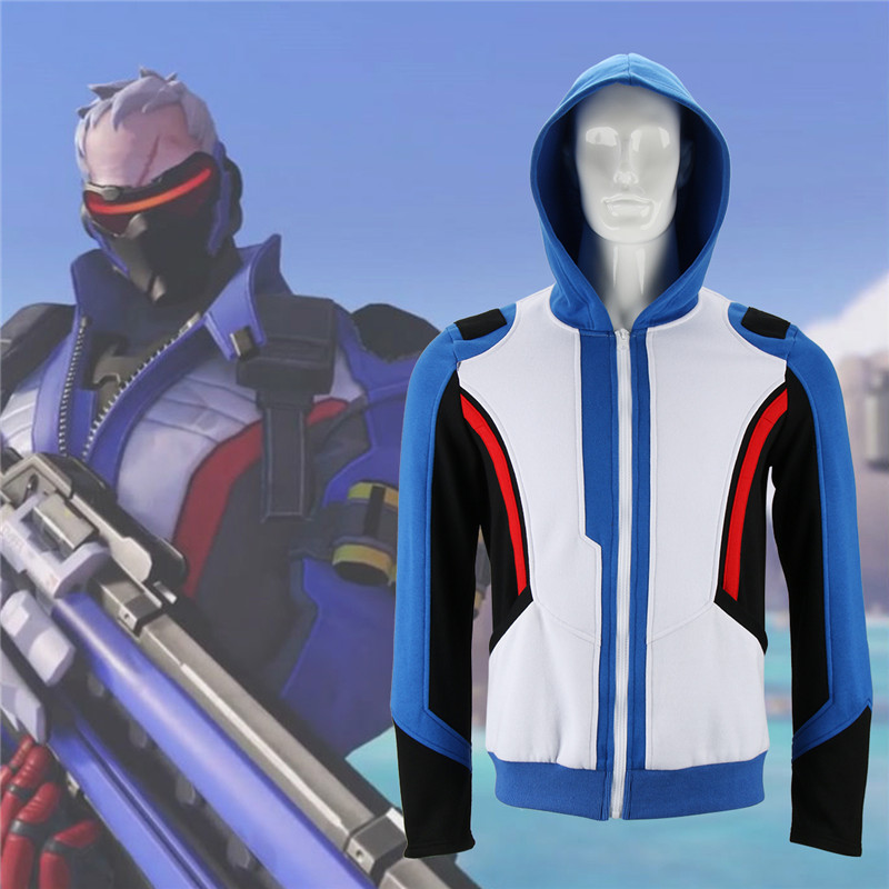 Takerlama Game Over Watch Men's Hoodies Soldier 76 Jackets Cosplay Coat Sweatshirts Halloween Costume Christmas Gift