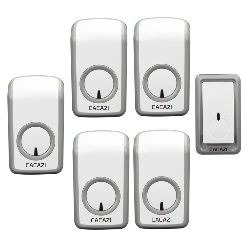 CACAZI Wireless Doorbell Waterproof 350M Remote 1 Battery Button 5 Receivers EU Plug Home Cordless Bell