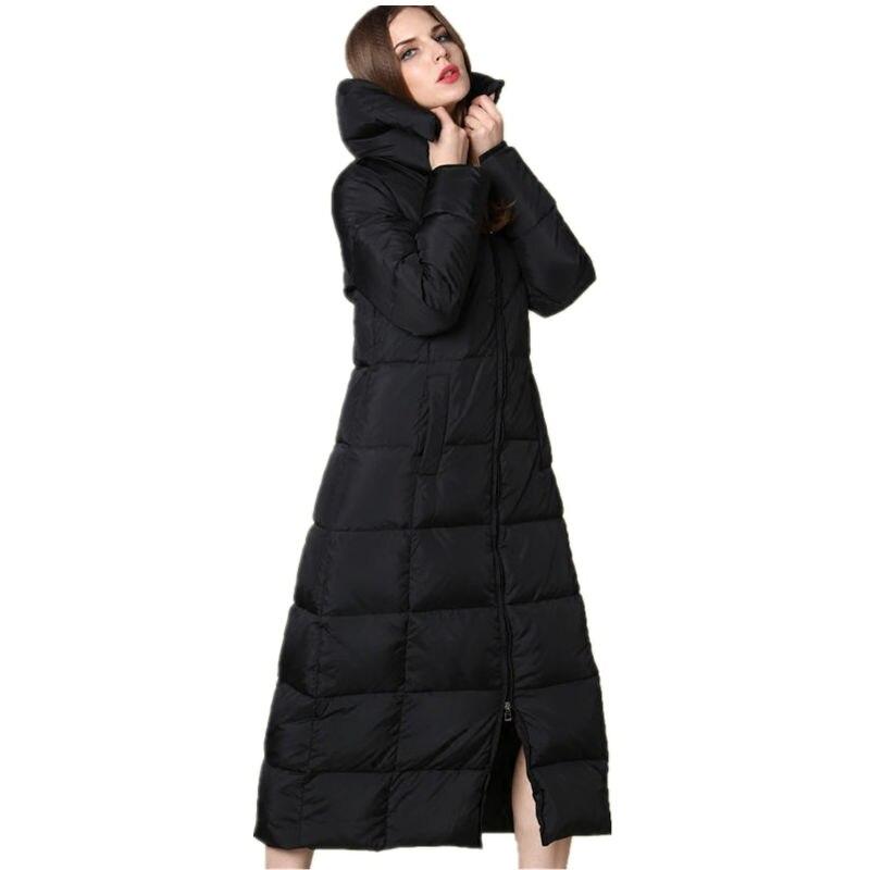 Collar Hooded Le Blanc De Black Stand black Capuche Manteau Parkas Femmes Coton À Canard Épaissir Veste C3560 Sur X long D'hiver Duvet Femme Genou Noir CqBSXwPP