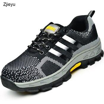2018 bezpieczeństwo buty letnie męskie bot z noskami i sole-przebicie oddychające lekkie obuwie robocze bezpieczeństwa buty