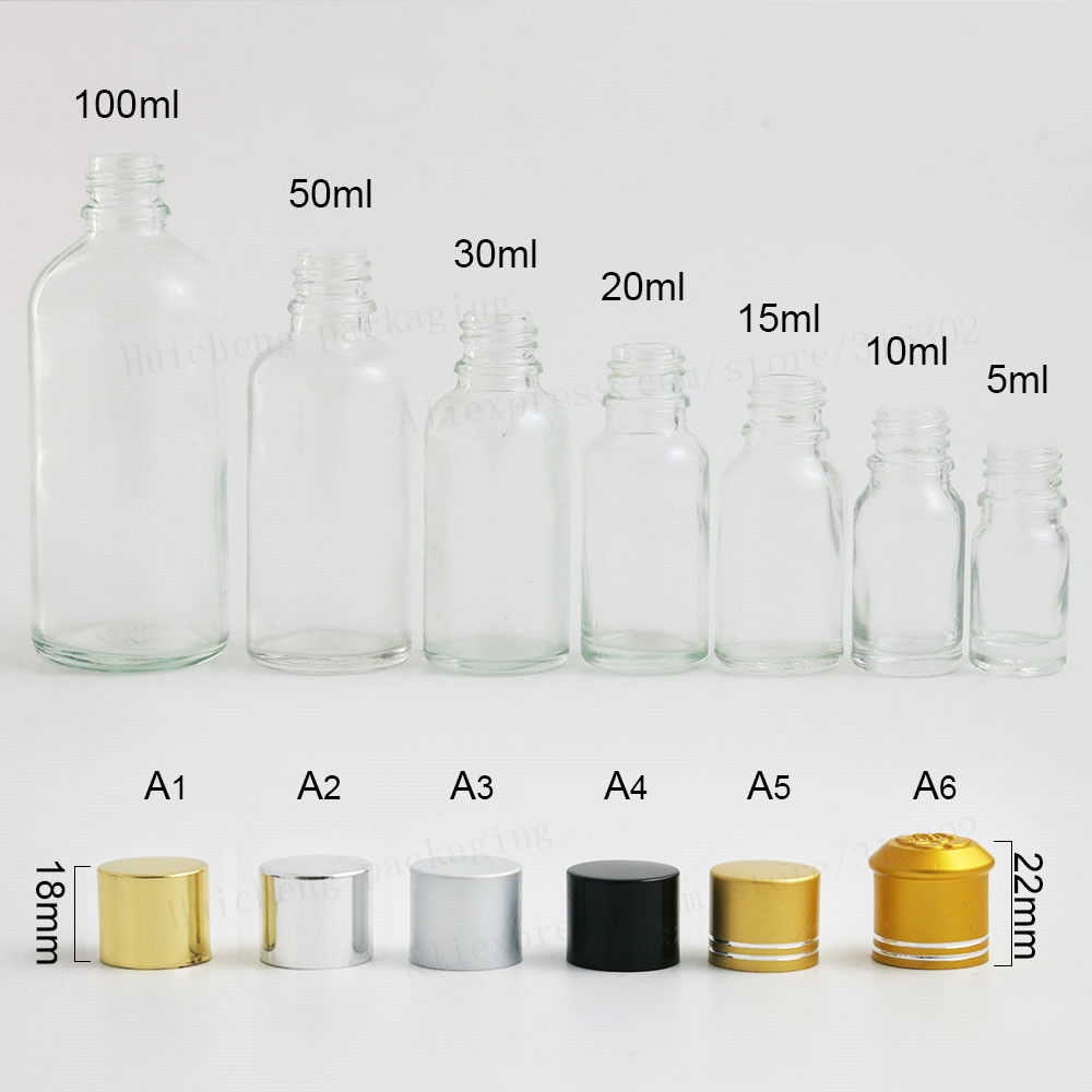 12 X 5ml 10ml 15ml 20ml 30m 50ml 100ml Clear Glass Essential Oil Bottle With Aluminium Lids Glass Essential Oil Container