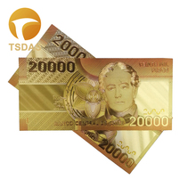 10pcs Colorful Chile 24K Gold Color Plastic Banknote 20.000 Pesos for Collection and New Year Gifts