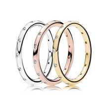 3 Color  925 Silver Ring Pave Logo Charms Rose Gold Diy Crystal Rings Women Wedding Party For Jewelry