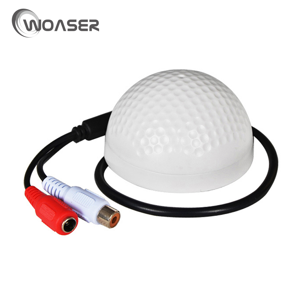 WOASER CCTV White Microphone Audio Pickup Device High 100 Square Meters Mini CCTV Security Surveillance Microphone Audio Input ...