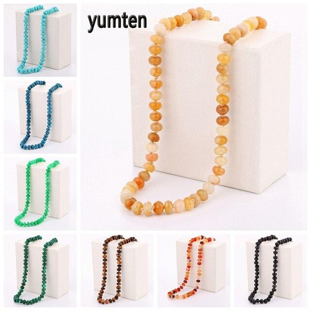 Yumten Topaz naszyjnik kamień naturalny łańcuch koraliki Choker moda kobiety prezent biżuteria vintage kamień Damskie Reiki mężczyzn akcesoria