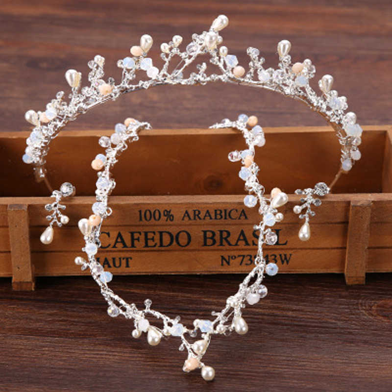 Luxury 3pc Vintage Silver Gold Tiaras And Crown For Women Bridal Jewelry Sets Pearl Wedding Necklace Earrings Crown Sets Jewelry