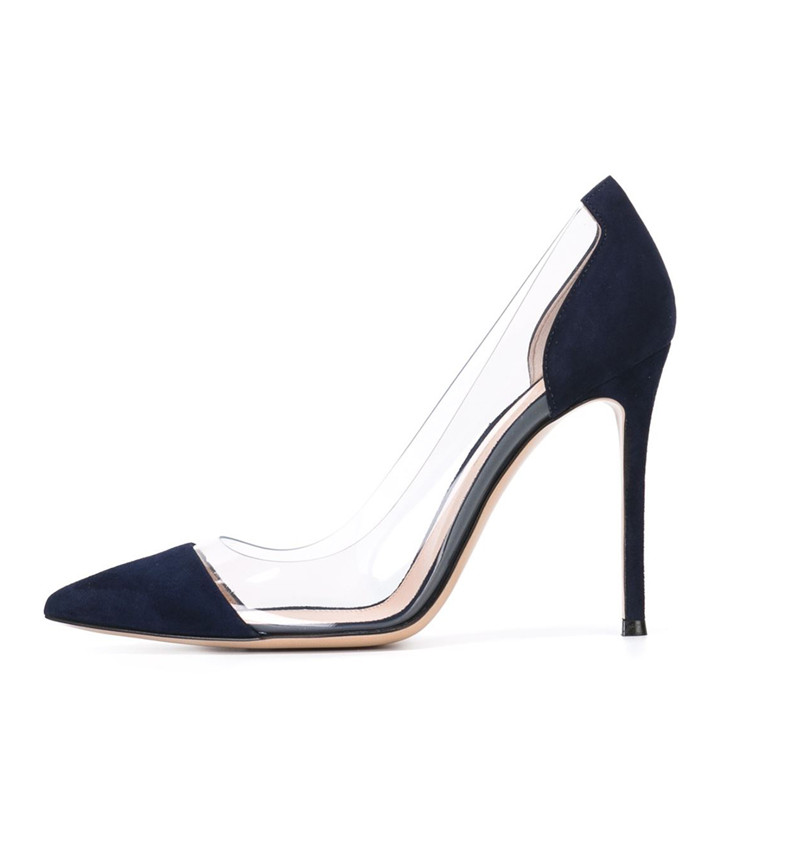 2019 femmes Transparent pompe PVC 8.5/10/12 CM talons aiguilles chaussures de mariage bout pointu classique pompes grande taille 35-46
