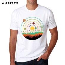 689297ed6afa 2018 mode Bunte Planeten Landschaft T-shirt Männer Hohe Qualität Raum  Printed T-Shirt Sommer Hipster Männliche Cool T Tops