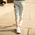Дети сломанной штаны брюки мультфильма новорожденных девочек джинсы марка мода весна лето 2-7Y дети брюки детская одежда