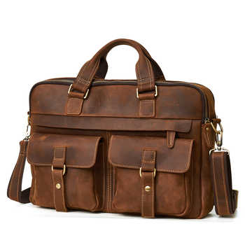 "JOYIR Men Briefcase Real Crazy Horse Leather Messenger 15"" Laptop Bag Business Briefcase Bags for Document Men Shoulder Handbags"