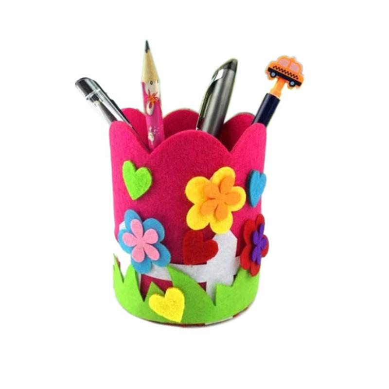 Children Diy Pen Holder Cute Handmade Craft Polyester Cloth Baby Toys Pencil Stationery Holder Office Desk Organizer Accessories Pen Holders