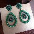 Йоге E1256G мода ААА цирконий зеленый камень лонг big drop серьги платье патри accessaries, Черный пистолет покрытием
