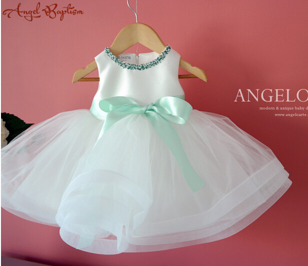 Sparkly green blue Beads with mint sash Flower Girl Dress infant christening dresses baptism gown baby 1 year birthday gown цена