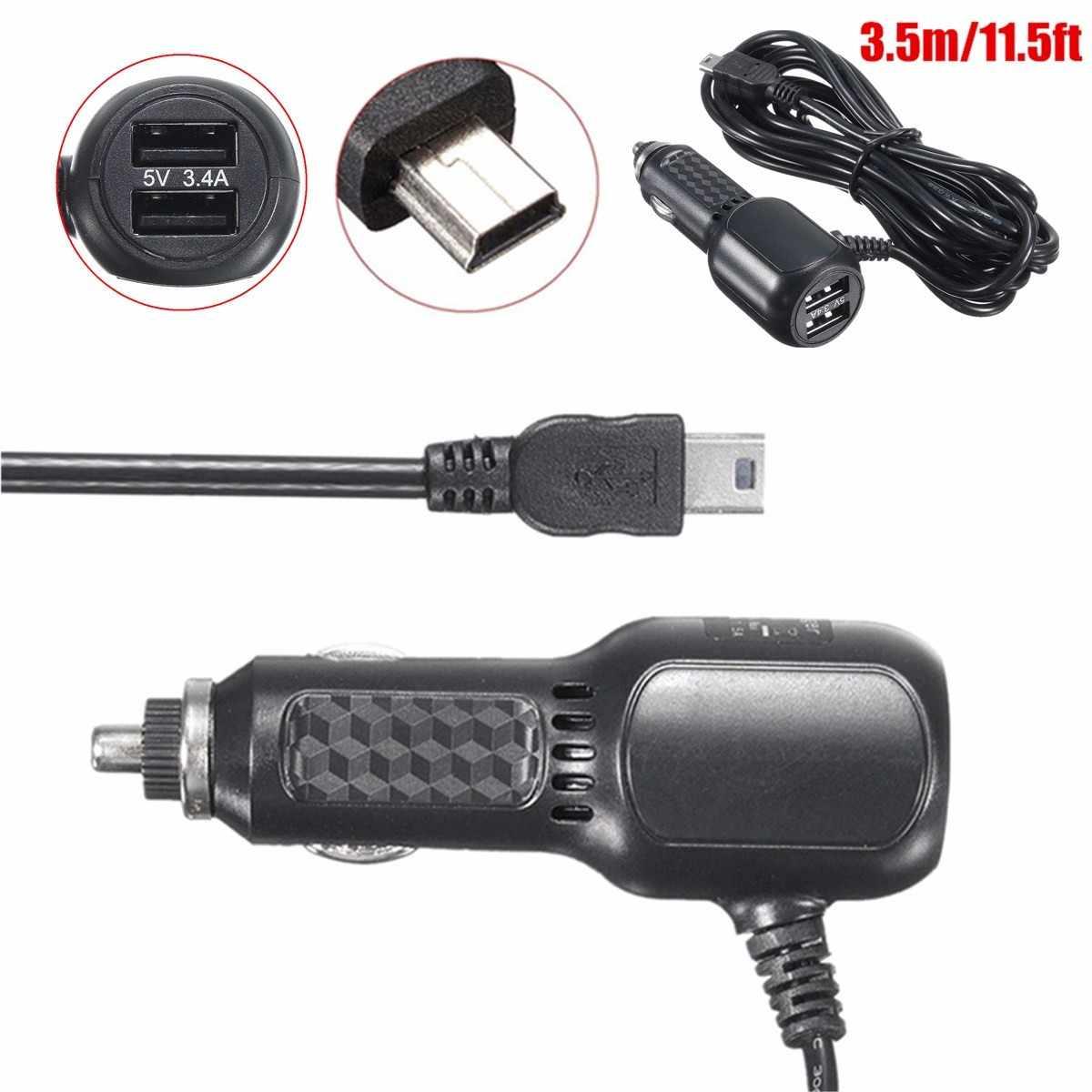 Новое поступление 5 В в 3.4A универсальный автомобиль DC мощность переходник для зарядного устройства Шнур Mini USB кабель для DVR gps навигации Nuvi 2A с кабелем