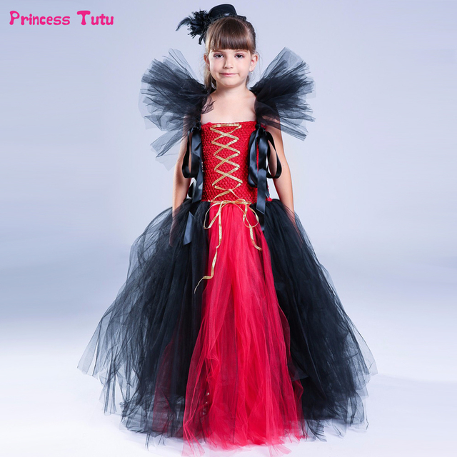 8100fc4dc057 Red Black Girls Tutu Dress Cosplay Queen Witch Vampire Dress Clothes  Halloween Costume For Kids Girl Birthday Party Dress 1-14Y