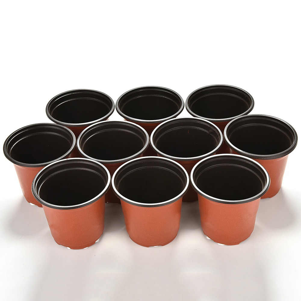 10 Pcs Mini di Plastica Rotondo Vaso di Fiori di Terracotta Nursery Planter Home Office Decor Pianta Verde Artificiale Raffinatezza Attrezzi da Giardino