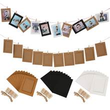 10Pcs/Set Photo Frame For Picture Wooden Photo Frame Clip Paper Picture Holder Party Wedding Wall Home Decor Photo Booth Props(China)