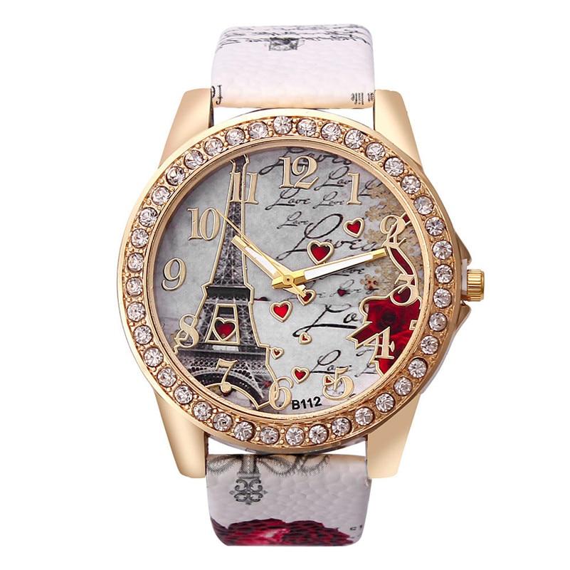 Women Watches Classic Fashion Tower Pattern Leather Band Analog Quartz Vogue Wrist Watches Luxury Ladies Dress Clock Reloj #c