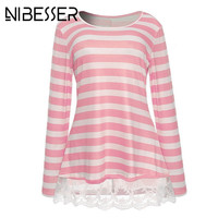 NIBESSER Autumn Pink T Shirts Women Fashion Striped Loose Christmas Tops Lace Patchwork Long Sleeve Tshirts