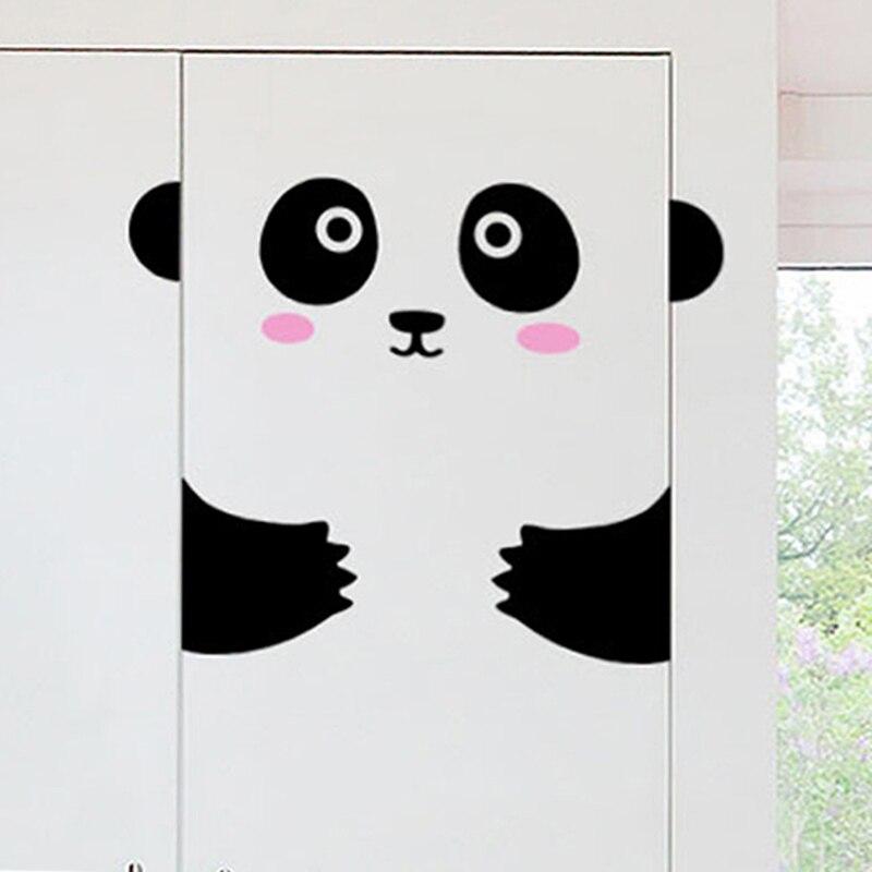 Cute Animals Panda Kitten Door Sticker Living Room Bedroom Door Art Home Decor Mural Vinyl Wallpaper Decorations Wall Stickers