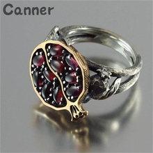 Canner Natural Stone Rings For Women Gold Wedding Retro Pomegranate Garnet Fruit Jewelry Rhinestone Gift Anillos A45