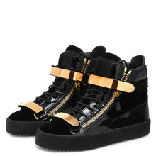 SHOOEGLE Chaussures Homme Men High -Top Sneakers Gold Metal Embellished Flats Patchwork Lace up Casual Trainers Shoes Man bow embellished lace yoke and cuff top