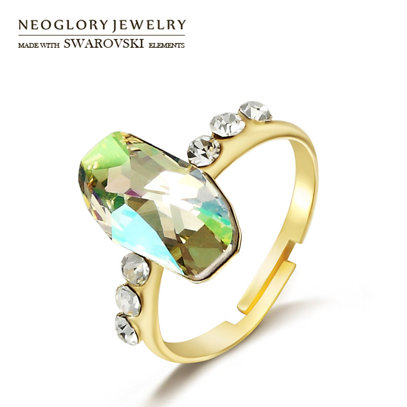 Neoglory Austria Crystal & Czech Rhinestone Adjustable Finger Ring Fashion Geometric Style Elegant Jewelry For Lady Gift
