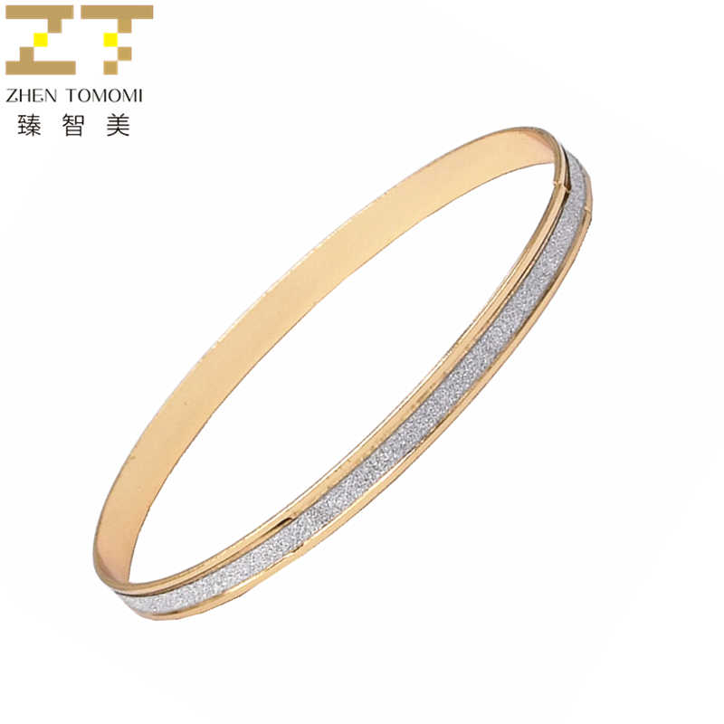 1 Pcs Hot New Fashion Frosted Matte stickers Bracelets Silver Plated Charm Cuff Circle Bangles Metal For Women Jewelry 2019