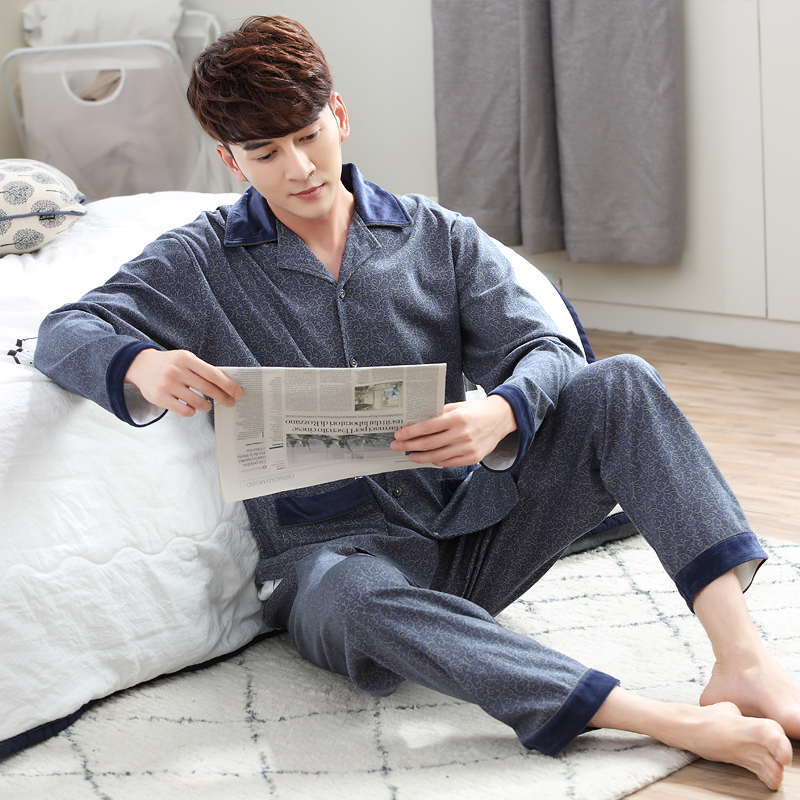 Pajamas spring and autumn knitted 100% male cotton casual plus size sleep set cardigan home wear lounge