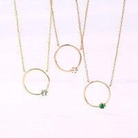 ANI 14 K Желтый/кулон, розовое золото ожерелье голубой топаз Белый Кристалл Изумруд изысканные украшения с драгоценными камнями Женщины Обруч