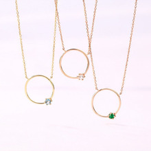 ANI 14K Yellow/Rose Gold Pendant Necklace Blue Topaz White Crystal Emerald Fine Gemstone Jewelry Women Engagement Necklace Gift 1 carat round cut simple bezel set solitaire 14k yellow white rose gold black moissanites necklace fine jewelry necklace chain