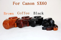 2015 New Model Protective Detachable PU Leather Camera Case For Canon SX60 For Black Coffee Brown