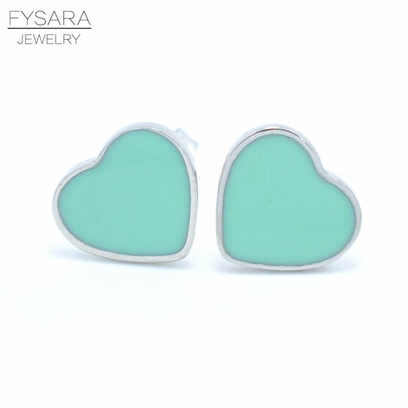 b13923ed0711 FYSARA marca de lujo amor corazón pendientes para las mujeres esmalte rosa Verde  pendientes boda joyería de acero inoxidable lindo pendientes