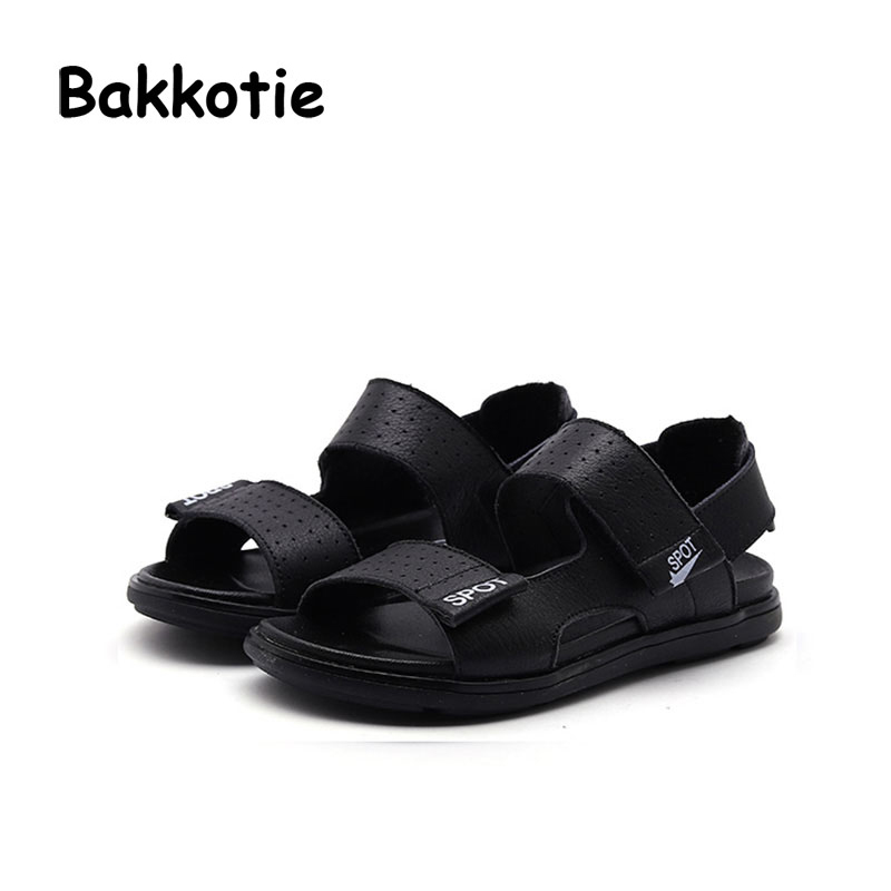 Bakkotie 2018 Summer New Baby Girl Fashion Beach Sandals Children Pu Leather Flats Toddler Boy Brand Black Cool Casual Shoes Kid bakkotie 2017 new autumn baby boy casual shoes khaki genuine leather black kid girl brand flat shoes soft sole breathable child