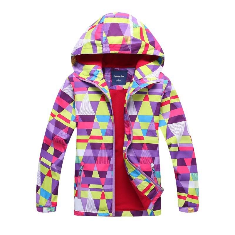 Winter Wear Children's Waterproof Warm And Fluffy Children's Wind Coat Printed Girl's Windbreaker Hiking Assault Jacket.