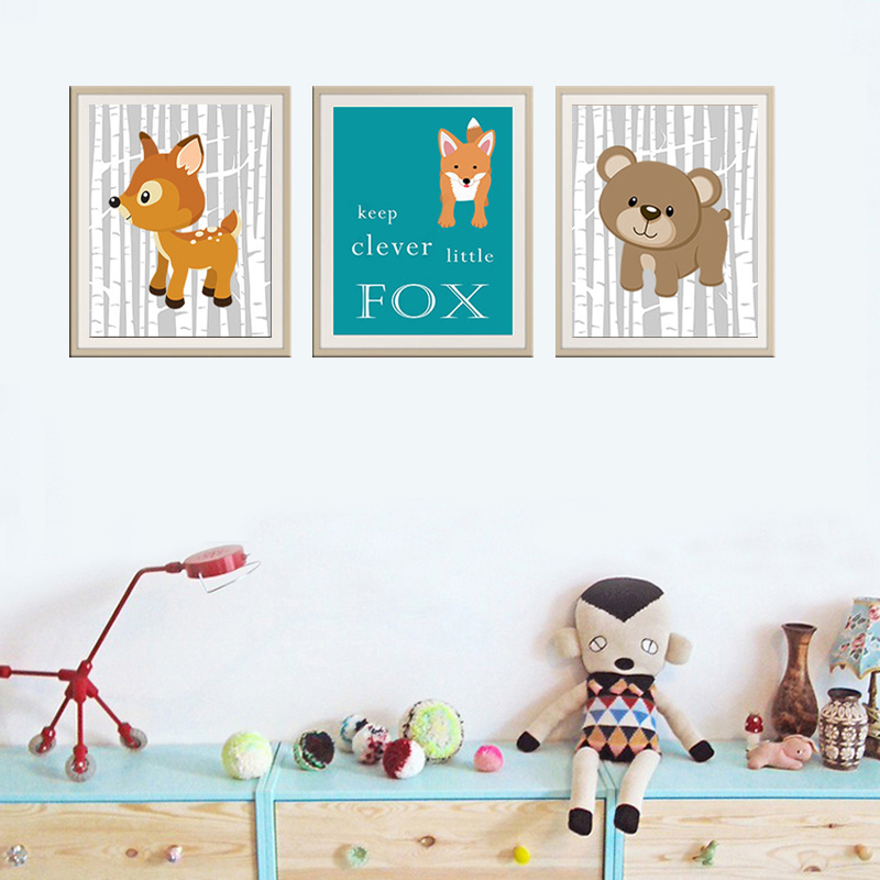 New Woodland Animals Forest Canvas Painting Nursery Wall Art Birch Wood Pictures Poster for Kids Room Prints Home Decor Unframed
