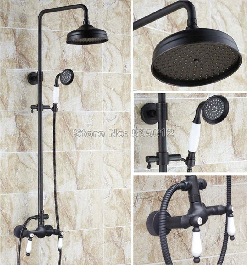 Bathroom Black Oil Rubbed Bronze Wall Mounted 8 Rain Shower Faucet Set with Ceramic Hand Spray + Dual Handles Mixer Taps Wrs478