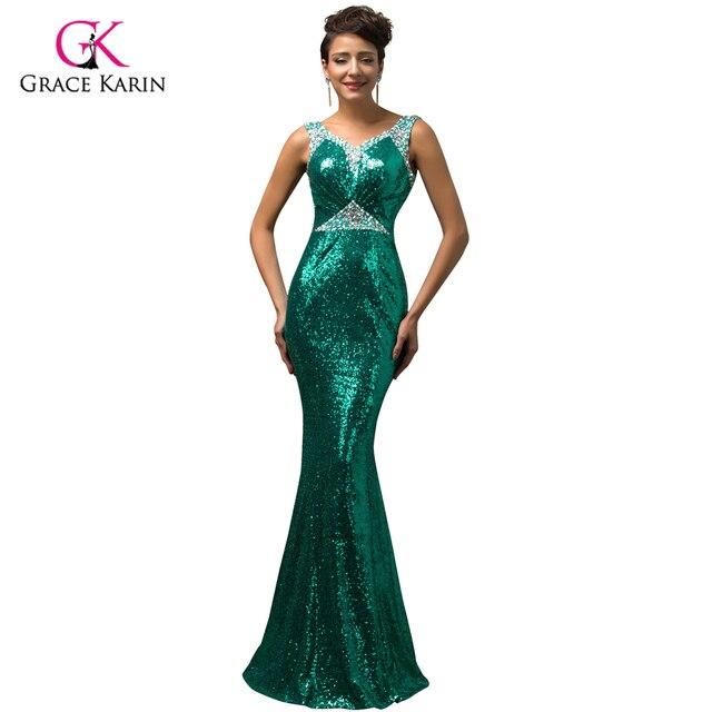 f2667ea8d Lujo Gracia Karin 2017 Sexy V cuello de La Sirena vestidos de Noche de Oro  teal